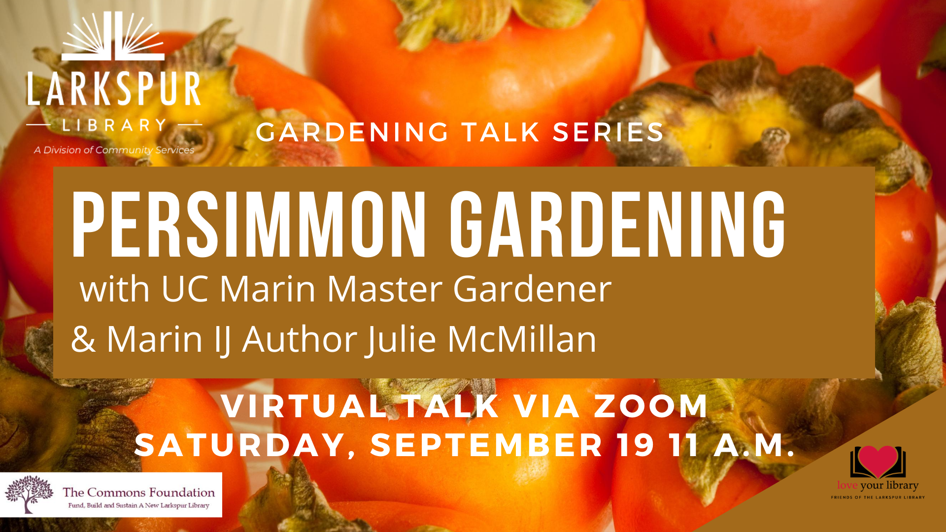 Persimmons Gardening with UC Marin Master GArdener Julie McMillan 9-19 at 11 AM