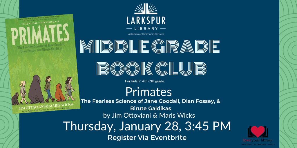 Middle Grade Book Club January 28 at 4 pm